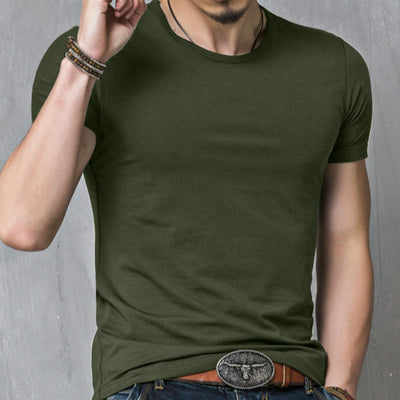 Summer Solid Color Comfortable Short-sleeved Purified Fertilizer Increase Short Sleeves