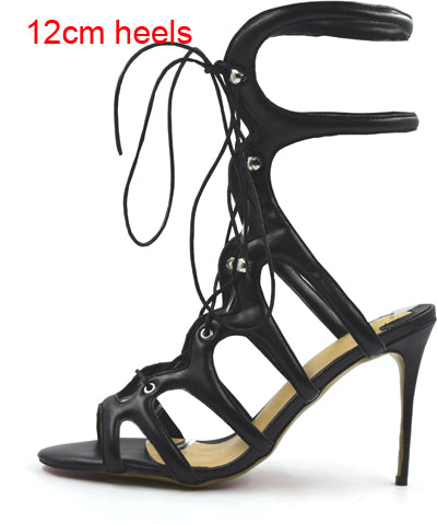 Sexy Matte Color Gladiator Sandals Thin High Heels Rome Style Shoes