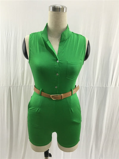 Casual Playsuit Sleeveless Solid Short Bodycon Rompers Jumpsuit Overalls w/ Belt XXL