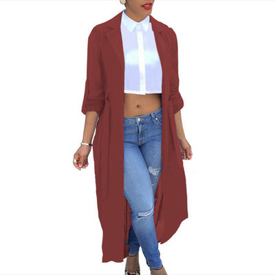 Chiffon Cardigan Sexy See-Through Ladies Lapel Long Jacket Blouse