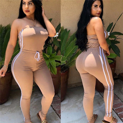 Off Shoulder Lace Up Solid Loose Elastic Romper Ladies Bodysuits Casual
