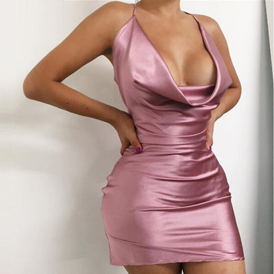 Sexy Satin Night Club Wear Dresses Ladies Red Spaghetti Strap V Neck Backless