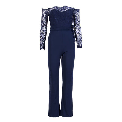 Spring Summer Lace Patchwork Embroidery Jumpsuit Rompers Ladies Bodysuits