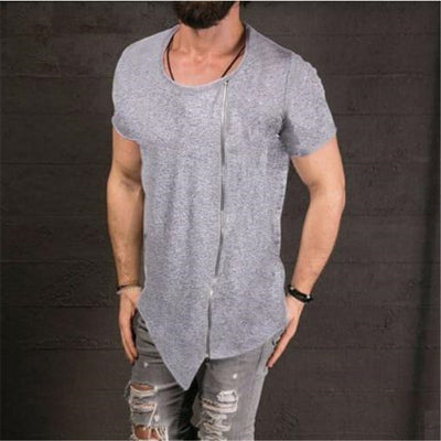 Short Sleeved Oblique Asymmetrical O-neck  Zipper Oversize Summer Slim Fit Hipster Shirt
