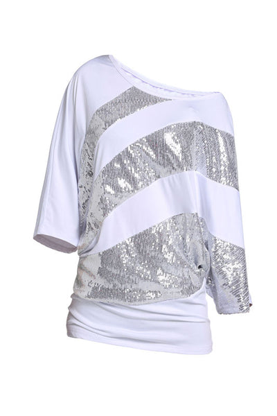 TEXIWAS Glitter Off Shoulder Batwing Sequined Tunic Blouse Loose