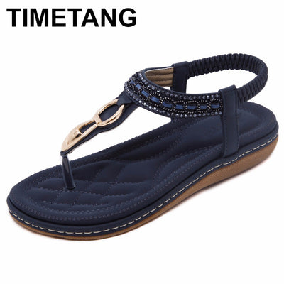 TIMETANG  Bohemia String Bead flip flop Metal Decoration flat sandals