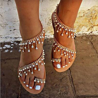 TINGHON Women Shoes Sandals Pearl Beads Thong Flat sandals