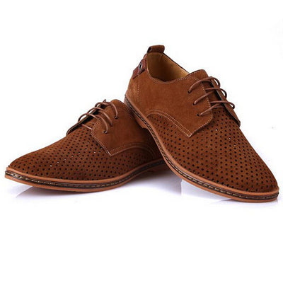 Tangnest Oxfords Breathable Suede Leather British Cut Outs Dress Shoes