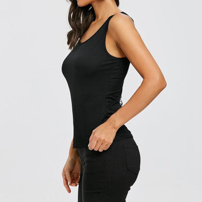 Hollow Out Black Sleeveless Sexy & Club O-neck Tops Sexy Backless Blouse