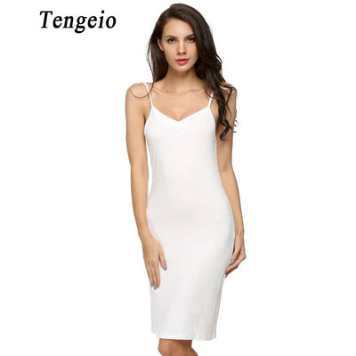 Tengeio Sexy Strap Full Slips Long Sleeveless Bottoming Straight Petticoat