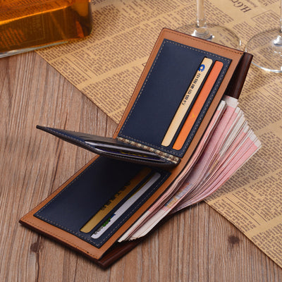 Top Leather Luxury Wallet Short Slim Money Clip Credit Card Dollar