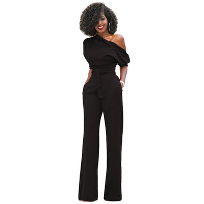 Tsuretobe Off the Shoulder Elegant Rompers Jumpsuits Short Sleeve Female Overalls