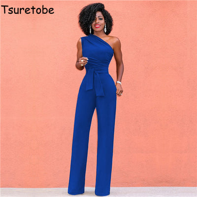 Tsuretobe Off Shoulder Casual Jumpsuits Wide Leg Rompers Party Overalls
