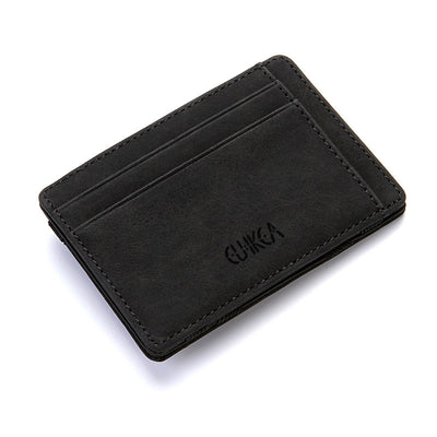 Ultra Thin Leather Mini Magic Wallets & Zipper Coin Purse Plastic Credit Card Case Holder