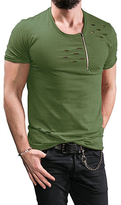 Uwback Ripped Hole T-shirts Men Zipper Breathable Casual Tees Men's T Shirt