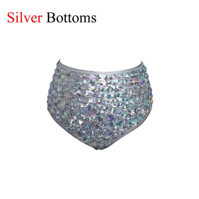 VIKINII Rhinestone Diamond Luxury High Waist Swimsuit Push Up Bikini Set Sexy Crystal Bathing Suits
