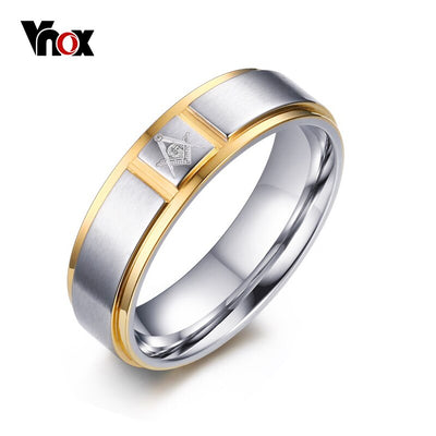 VNOX Men's Masonic Rings Jewelry Surgical Steel Punk Rings for Men US Size