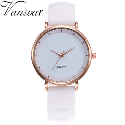 Vansvar Fashion Jelly Silicone Luxury Brand Casual Ladies Quartz Wristwatches Clock