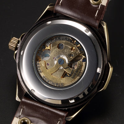 Vintage Automatic Mechanical Skeleton Watch Bronze Plating Automatic Transparent Watches Man