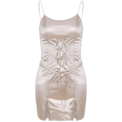 Vintage Elegant Chic Spaghetti Strap Satin Sleeveless Bodycon with Girdle Sexy Party Dresses
