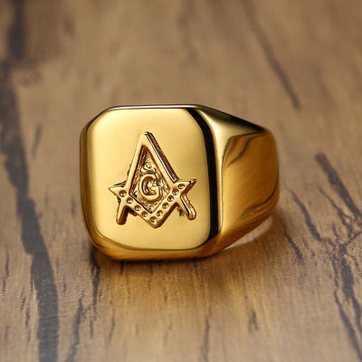 Vnox Gold Tone Masonic Compass Square Free Mason High Polished Stainless Steel Ring Jewelry