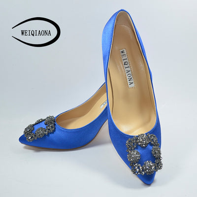 WEIQIAONA Sexy Pumps High Heels Elegant Buckle Rhinestone Pointed Dress Shoes