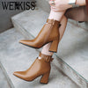 WETKISS Ankle Strap High Heels Boots Pointed Toe Footwear Zip Booties Pu Winter