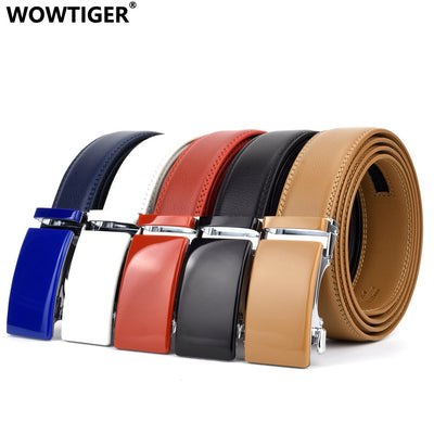 WOWTIGER Cowhide Genuine Leather Male Ratchet Automatic Luxury belts