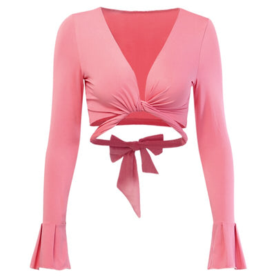 WannaThis Flare Sleeve Deep V-Neck Irregular Criss Cross Hollow Out Elastic Slim Crop Top Bow Pink Blouse