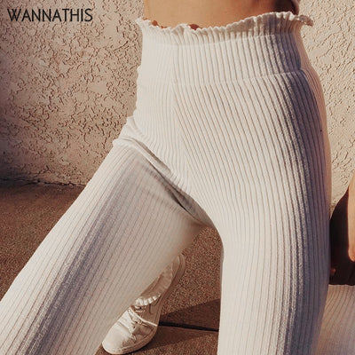 WannaThis Pencil Ruffles Elegant White Slim Casual Stretch Trousers White Leggings Ribbed Knitted