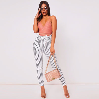 White Striped Skinny High Street Patchwork Pockets Elastic Waist Sashes Trousers