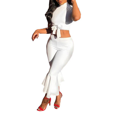 White Two Piece Set Outfits Short Sleeve Bow Tie Up Top and Cropped Flare Pants Suit Sets