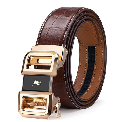 Williampolo Genuine Leather Automatic Buckle Luxury Belts Strap Original Natural Cowskin Belts 19540-42P