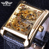 Retro Casual Series Rectangle Dial Design Golden Pattern Hollow Skeleton Watch Top Brand Luxury Mechanical