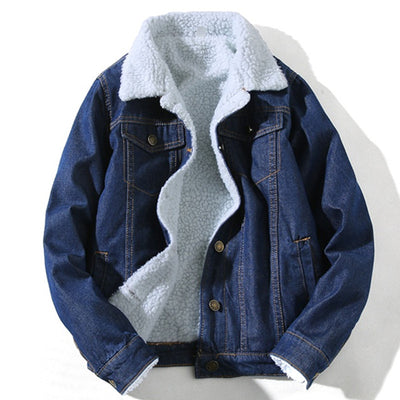 Winter Wool Warm Single Breasted Fleece Slim Fit Fur Collar Thick Denim Jeans Cowboy Coats
