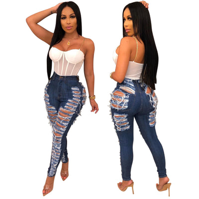 Wjustforu Sexy Ripped Casual Club Hole Denim Hollow Out Pencil Long Jeans