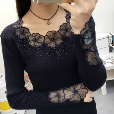 Woherb Black Half Turtleneck Long Sleeve Pullovers Lace Patchwork See Through Slim Knit