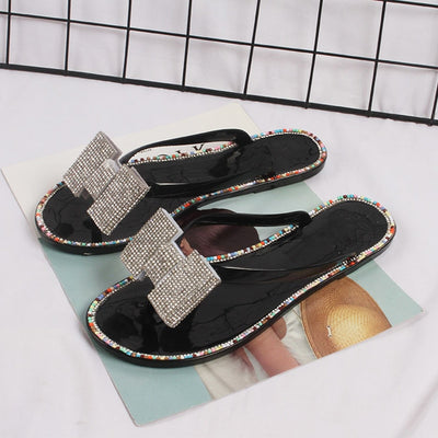 Pu Leather Bling Slippers Butterfly Knot Beach Sandals Slip On Flip Flops Flat