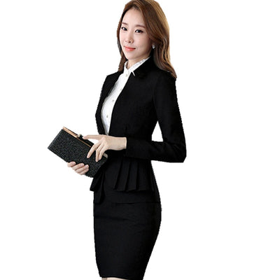 Jacket Elegant Full Sleeve Ruffle Pleated Blazer Skirt 2 Pieces Work Office Skirt Suite