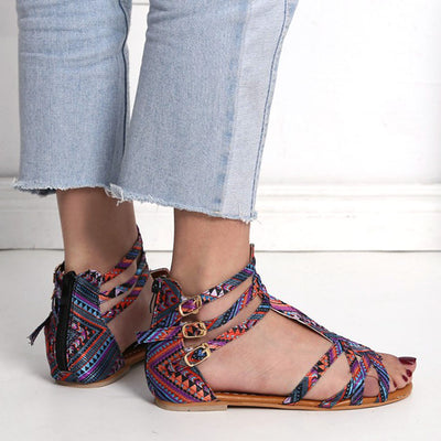 Open Toe National Wind Embroider Bohemian Style Large Size Contrast zipper Sandals
