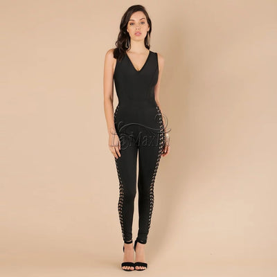 Trousers hollow out Rompers Slim Clothing Long Pant Overalls black Tight Fitted Jumpsuits