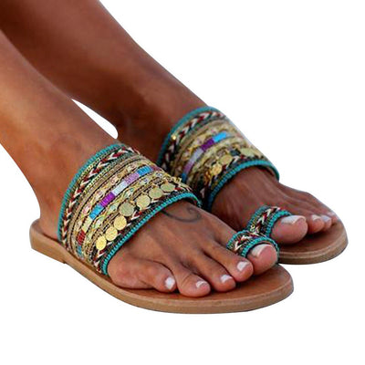Artisanal Handmade Greek Style Boho Flip Flop Sandals Streetwear Shoes