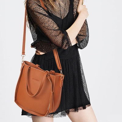 Top-Handle Big Capacity Tassel Shoulder Bag Purse Ladies Leather Crossbody Bag