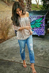 Spring Sexy Style Off Should Long Sleeve Sequin Shiny Gold blouse Top Formal