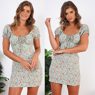 Boho Casual Floral Mini Sundress Short Sleeve Bandage Flower Elegant Sweet Playa Dress