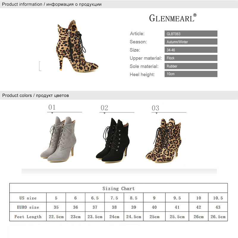 3127ab6105b Winter High Heels Leopard Ankle Boots Pointed Toe Casual Shoes Lace Up Plus  Size