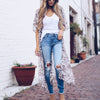 Leopard print Kimono Cardigan Summer Long Crochet Loose printed Blouse