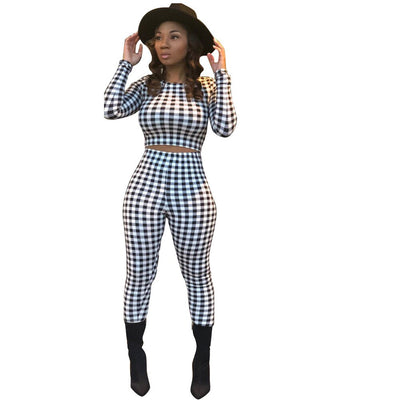 Plaid Two Piece Set Long Sleeve O-neck Tops Skinny Long Pants Sporting Tracksuit Outfits