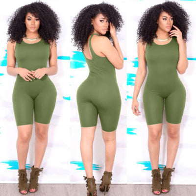 Women Casual Jumpsuit Sleeveless Vest Bodycon One piece Slim Shorts Club Tights