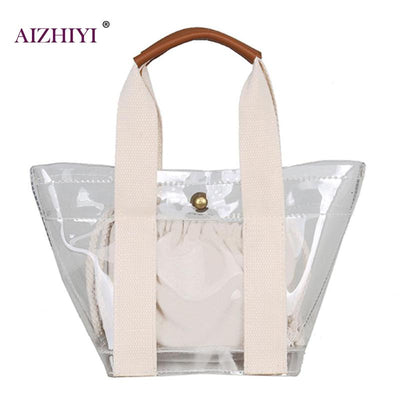Clear Transparent Shoulder Jelly Candy Handbag Messenger Bags Beach Tote